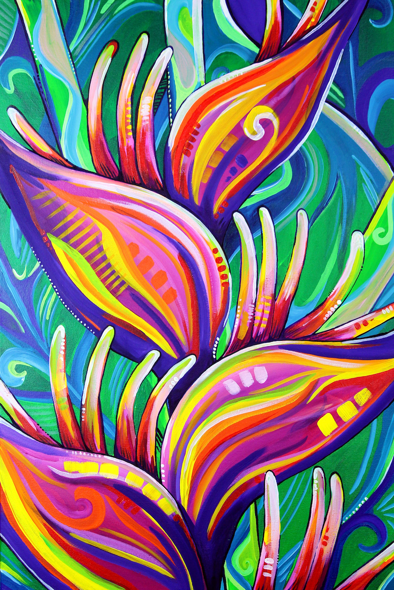 (CreativeWork) Heliconia - Tropical Flower Painting by Eve Izzett. Acrylic Paint. Shop online at Bluethumb.
