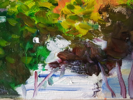 (CreativeWork) Leura garden by Kevin Song. Mixed Media. Shop online at Bluethumb.
