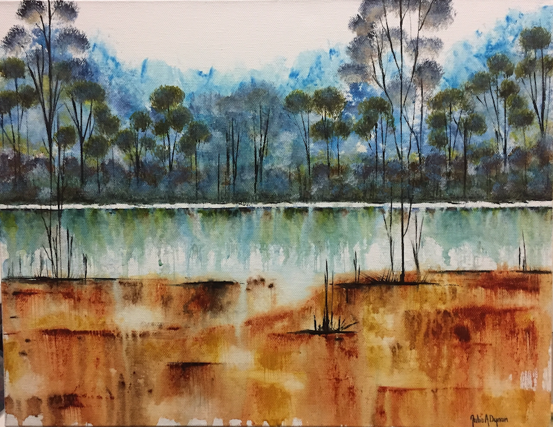 (CreativeWork) Emerald Waters - Earth & Water  by Julie Dynan. Acrylic Paint. Shop online at Bluethumb.