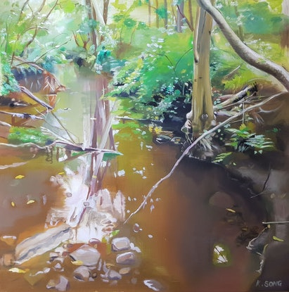 (CreativeWork) Untitled (Creek) by Kevin Song. Oil Paint. Shop online at Bluethumb.
