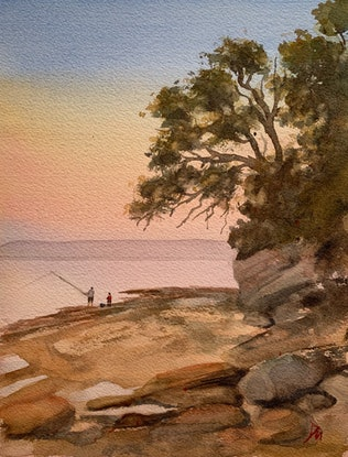 (CreativeWork) Evening fishing by Shelly Du. Watercolour Paint. Shop online at Bluethumb.