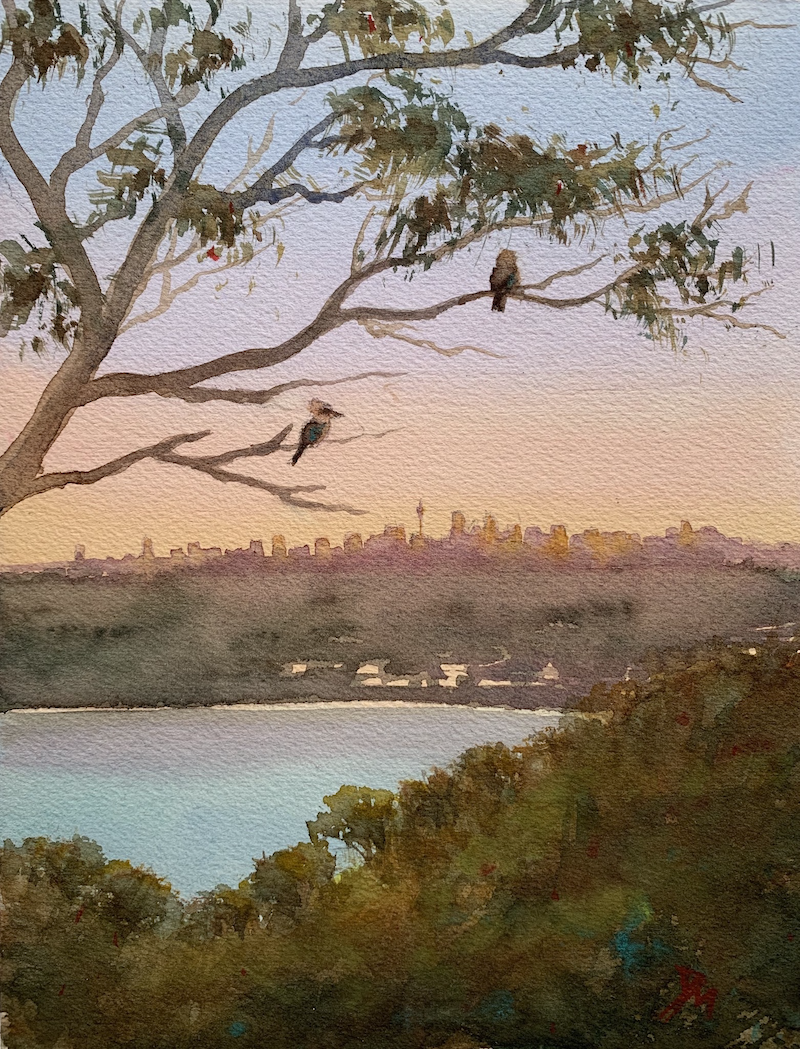 (CreativeWork) George heights sunset by Shelly Du. Watercolour Paint. Shop online at Bluethumb.