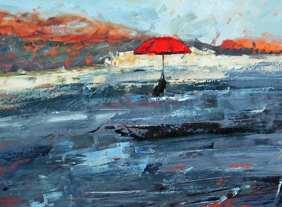 (CreativeWork) Red Umbrella Landscape by Claire McCall. Oil Paint. Shop online at Bluethumb.