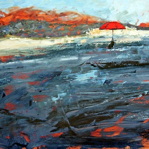 (CreativeWork) Red Umbrella Landscape by Claire McCall. oil-painting. Shop online at Bluethumb.