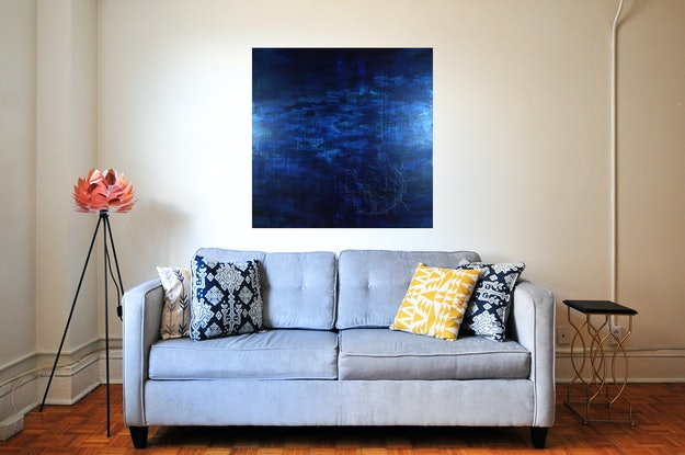 (CreativeWork) Seaside Blue by Simon Phillips. Mixed Media. Shop online at Bluethumb.