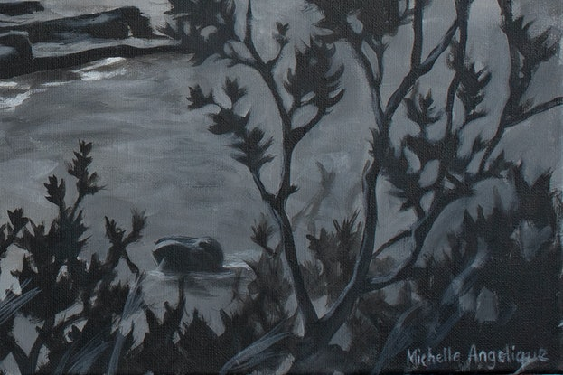 (CreativeWork) Cruising along the Seacliff Bridge by Michelle Angelique. Acrylic Paint. Shop online at Bluethumb.
