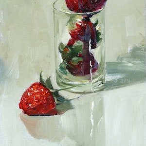 (CreativeWork) Still life M85 Strawberry by Yuan Fu. oil-painting. Shop online at Bluethumb.