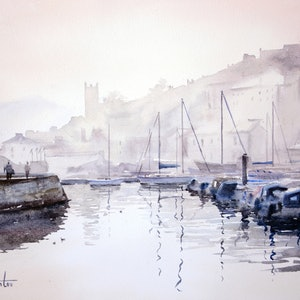 (CreativeWork) Misty Morning in Brixham, England by Chrysovalantou Mavroudis. watercolour. Shop online at Bluethumb.