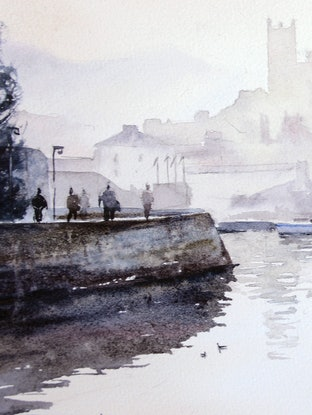 (CreativeWork) Misty Morning in Brixham, England by Chrysovalantou Mavroudis. Watercolour Paint. Shop online at Bluethumb.