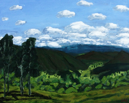 (CreativeWork) Crossing Kyogle, Northern Rivers 1 by James Lai. Acrylic Paint. Shop online at Bluethumb.