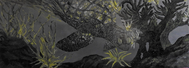 (CreativeWork) Great Barrier Reef Series -  No. 5 Turtle by Donna Parker. Acrylic Paint. Shop online at Bluethumb.
