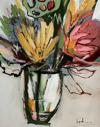 (CreativeWork) Vases on Paper Series II (ID-125hB) by Angela Maritz. Acrylic Paint. Shop online at Bluethumb.