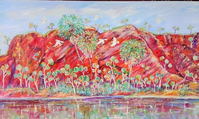 (CreativeWork) Lawn Hill gorge by Joanne Scriha. Oil Paint. Shop online at Bluethumb.