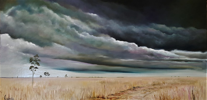 (CreativeWork) Promise of Rain by Lucinda Leveille. Oil Paint. Shop online at Bluethumb.