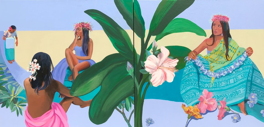 (CreativeWork) NURTURE WITH LOVE ...ORCHID LEI by Helen Halliday. Acrylic Paint. Shop online at Bluethumb.