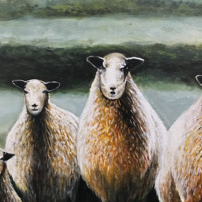 (CreativeWork) FIVE SHEEP IN A  LANDSCAPE by LOUISE GROVE WIECHERS. Acrylic Paint. Shop online at Bluethumb.