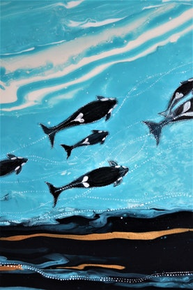 (CreativeWork) Killer whale's family   by Aksi Ryan. Acrylic Paint. Shop online at Bluethumb.
