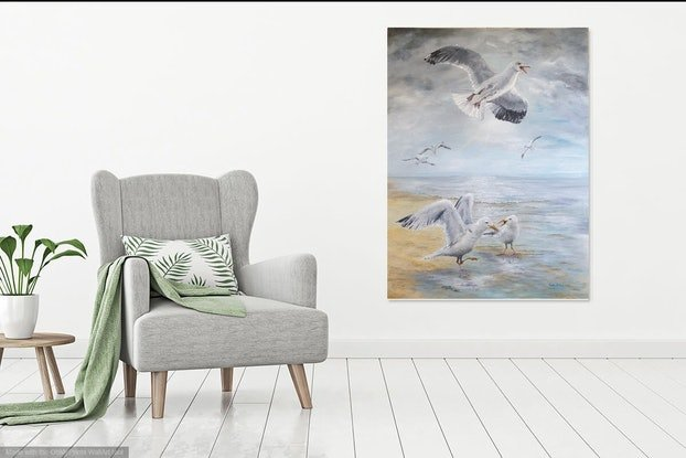 (CreativeWork) Sea Gulls by Sandy Barbara. Oil Paint. Shop online at Bluethumb.
