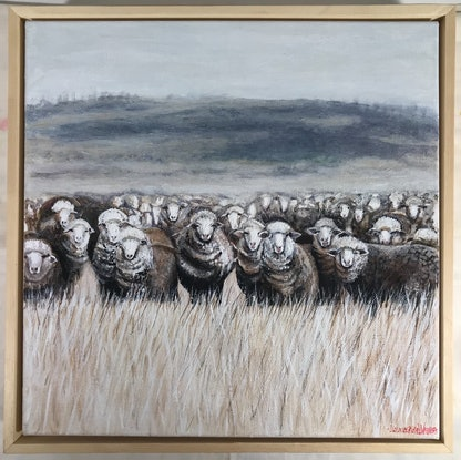 (CreativeWork) SHEEP IN A WINTER MEADOW by LOUISE GROVE WIECHERS. Acrylic Paint. Shop online at Bluethumb.
