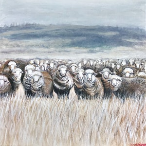 (CreativeWork) SHEEP IN A WINTER MEADOW by LOUISE GROVE WIECHERS. acrylic-painting. Shop online at Bluethumb.