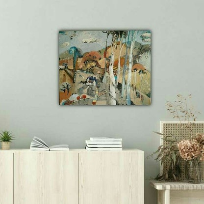 (CreativeWork) Abstract Landscape - Country Cottage by Susan Trudinger. Acrylic Paint. Shop online at Bluethumb.