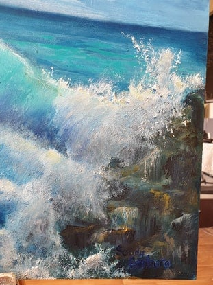 (CreativeWork) Dark waves by Sandy Barbara. Oil Paint. Shop online at Bluethumb.