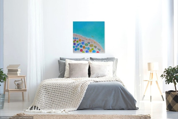 (CreativeWork) One Summer - Beach art by Jan Matson. Oil Paint. Shop online at Bluethumb.