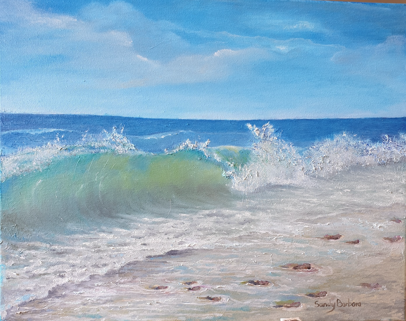 (CreativeWork) Rocky beach by Sandy Barbara. Oil Paint. Shop online at Bluethumb.