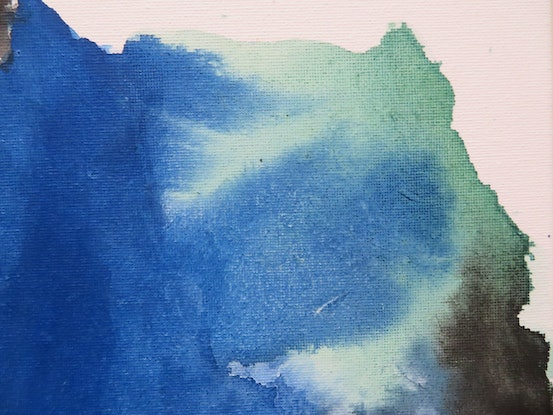(CreativeWork) Blue & Green Landscape - Mountains-6 by Nora McLean. Watercolour Paint. Shop online at Bluethumb.