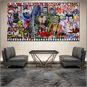 (CreativeWork) The  Planet 190cm x 100cm Planet of the Apes Textured Urban Pop Art Gloss Finish FRANKO by _Franko _. mixed-media. Shop online at Bluethumb.