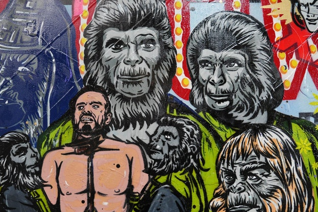 (CreativeWork) The  Planet 190cm x 100cm Planet of the Apes Textured Urban Pop Art Gloss Finish FRANKO by _Franko _. #<Filter:0x0000563b6c6b5730>. Shop online at Bluethumb.