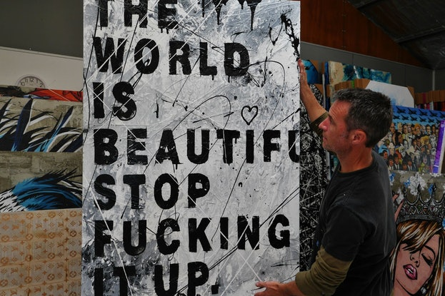 (CreativeWork) Just Stop 140cm x 100cm The World is Beautiful Textured Urban Pop Art Gloss Finish FRANKO by _Franko _. Acrylic Paint. Shop online at Bluethumb.