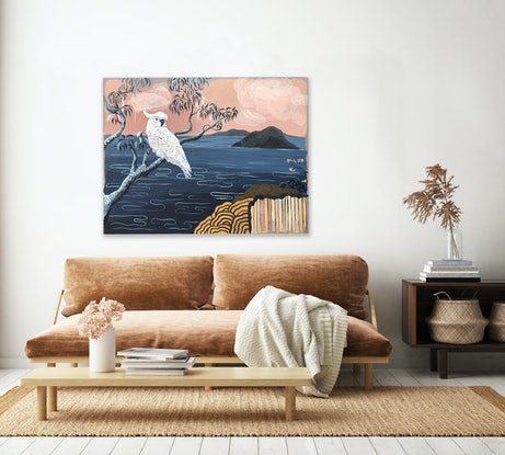 (CreativeWork) White Cockatoo at Broken Bay by Sally Browne. Acrylic Paint. Shop online at Bluethumb.