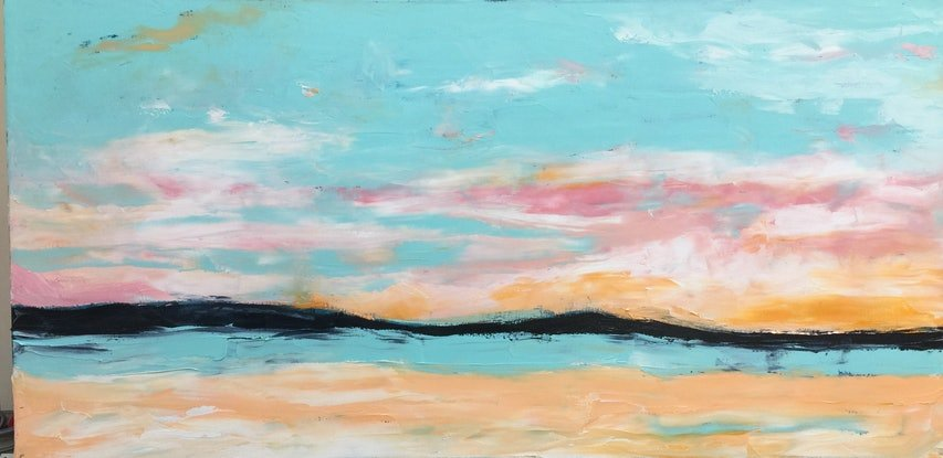 (CreativeWork) Sunset Mordialloc  by STELLA GREIG. Oil Paint. Shop online at Bluethumb.
