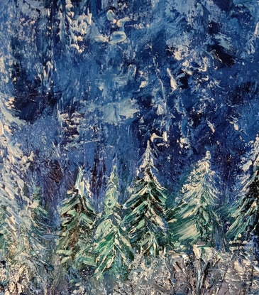 (CreativeWork) Winter Blue by Cathy Gilday. Oil Paint. Shop online at Bluethumb.
