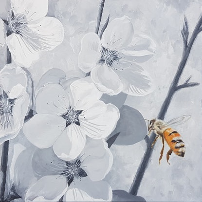 (CreativeWork) Bee and peach blossoms by Rory OBrien. Acrylic Paint. Shop online at Bluethumb.
