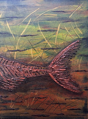 (CreativeWork) Viper Fish Bones by Lyndsey Hatchwell. Acrylic Paint. Shop online at Bluethumb.
