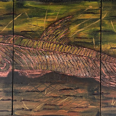 (CreativeWork) Viper Fish Bones by Lyndsey Hatchwell. acrylic-painting. Shop online at Bluethumb.