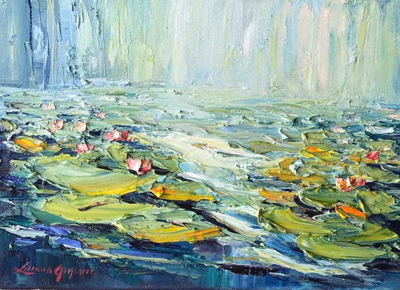 (CreativeWork) Water lilies No 7 by Liliana Gigovic. Oil Paint. Shop online at Bluethumb.
