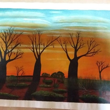 (CreativeWork) Beautiful Boabs of the Kimberley  by ROBERT Wooldridge. Acrylic Paint. Shop online at Bluethumb.