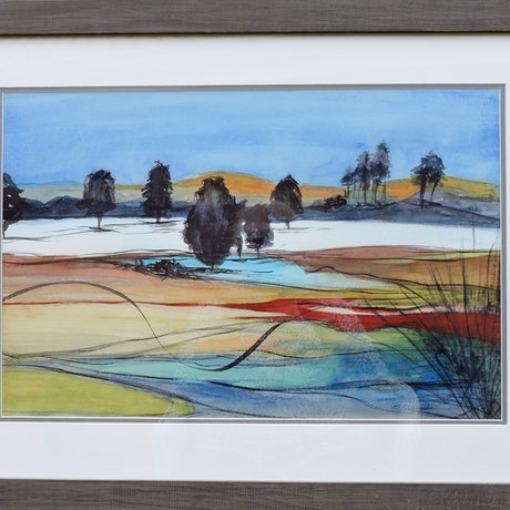 (CreativeWork) Moore River Again  by Noela O'Keefe. Watercolour Paint. Shop online at Bluethumb.