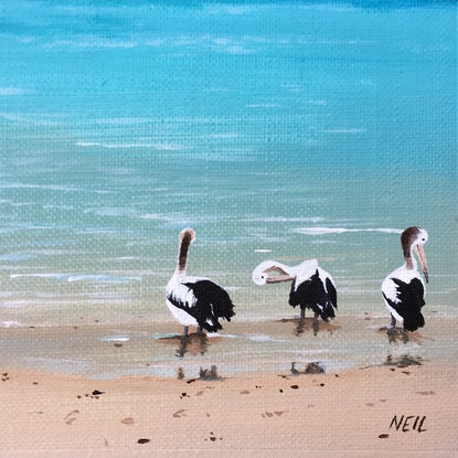 (CreativeWork) Little Beach by Kim Neil. Acrylic Paint. Shop online at Bluethumb.
