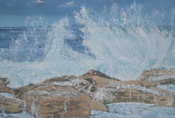 (CreativeWork) Big Waves Coming by Sharon Robards. Oil Paint. Shop online at Bluethumb.