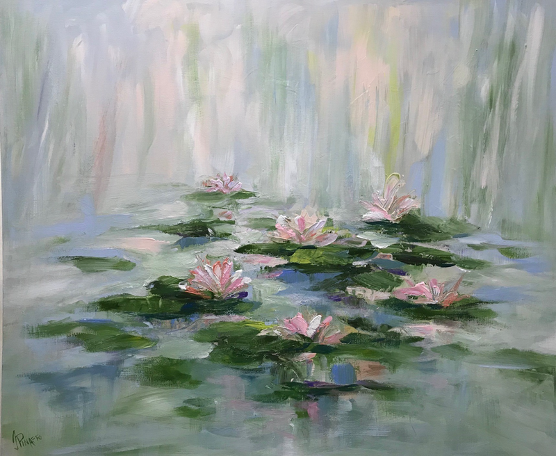 (CreativeWork) WATER LILIES #2 by Ivana Pinaffo. Acrylic Paint. Shop online at Bluethumb.