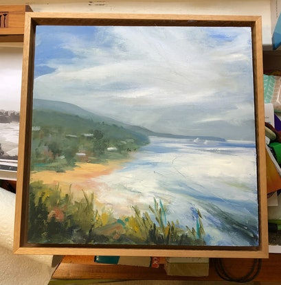 (CreativeWork) Spring Tide Thirroul  NSW  30x30 cm  Oil painting by Gail McKenzie. Oil Paint. Shop online at Bluethumb.
