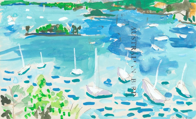 (CreativeWork) Clark Island from Macleay Street by John Douglas. Watercolour Paint. Shop online at Bluethumb.