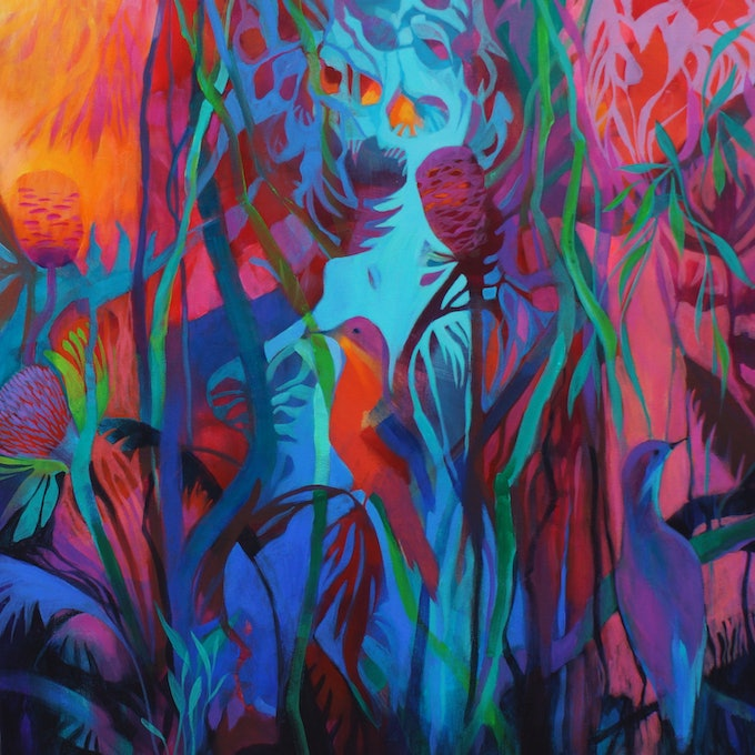 (CreativeWork) Tropicana by Sandra Michele Knight. arcylic-painting. Shop online at Bluethumb.