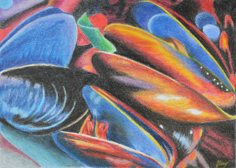 (CreativeWork) Clams by Jennifer Lacey. Drawings. Shop online at Bluethumb.