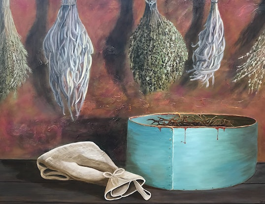 (CreativeWork) A Collection of Dried Herbs and Seeds by Dianne Fix. Oil Paint. Shop online at Bluethumb.