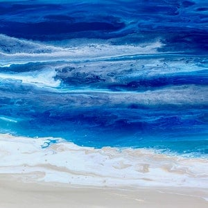 "(CreativeWork) ""Surf Beach"" original coastal inspired art by Debra Ryan. mixed-media. Shop online at Bluethumb."